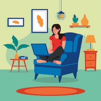 Ficar em casa mulher vetor conceito de família