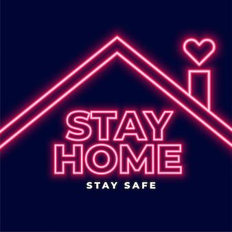 Ficar em casa néon letras conceito design de plano de fundo
