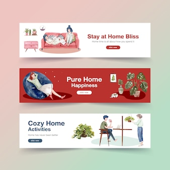 Ficar em casa o conceito de banner com caráter de pessoas faz atividade e relaxante design aquarela de ilustração