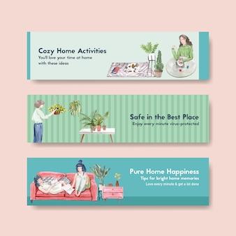 Ficar em casa o conceito de banner com caráter de pessoas faz atividade, jardinagem e relaxante design aquarela ilustração