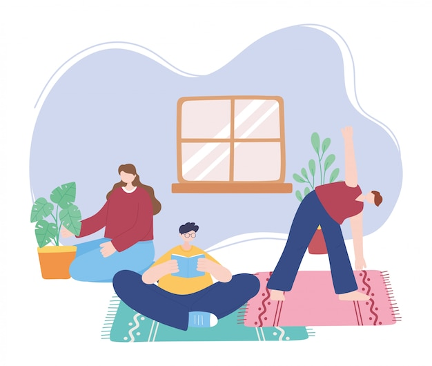 Ficar em casa, pessoas fazendo atividades diferentes, auto-isolamento, quarentena para coronavírus