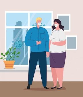 Ficar em casa, quarentena ou auto-isolamento, casal usando máscara médica, conceito de prevenção e saúde