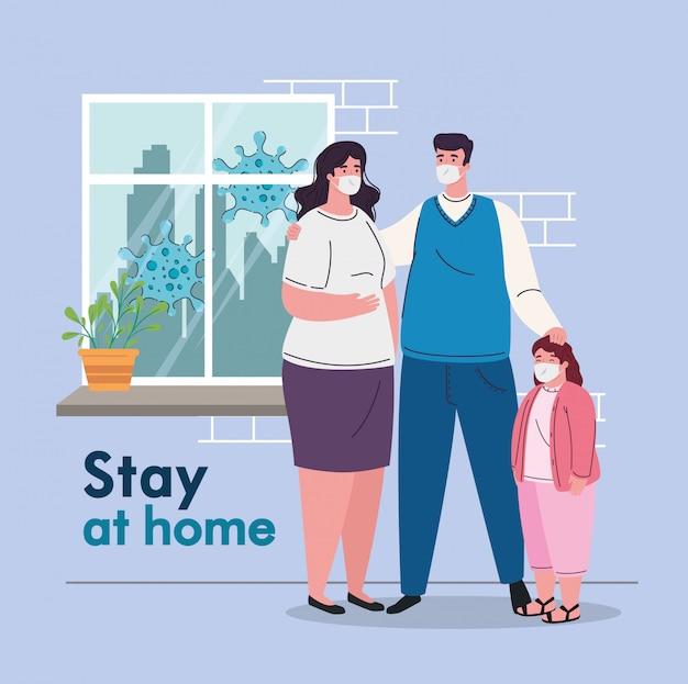 Ficar em casa, quarentena ou auto-isolamento, pais com filha usando máscara médica, prevenção e conceito de saúde