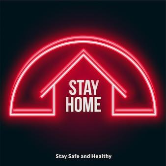 Ficar em casa vermelho neon estilo design de cartaz