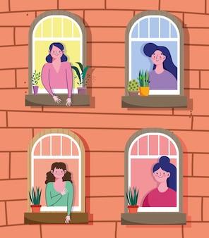 Ficar em quarentena em casa, as mulheres olham pela janela na ilustração residencial de apartamento Vetor Premium