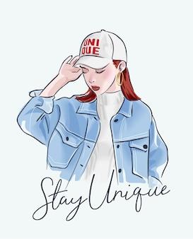 Ficar slogan exclusivo com garota na ilustração de jaqueta