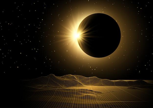 Ficção científica com paisagem de estrutura de arame e design de eclipse solar