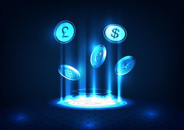 Ficção científica internacional, financeira ou economia sobre transferência de moeda