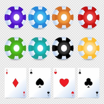 Fichas coloridas de cassino, conjunto simples de cartão de apostas. espadas, corações, phillips, diamantes.
