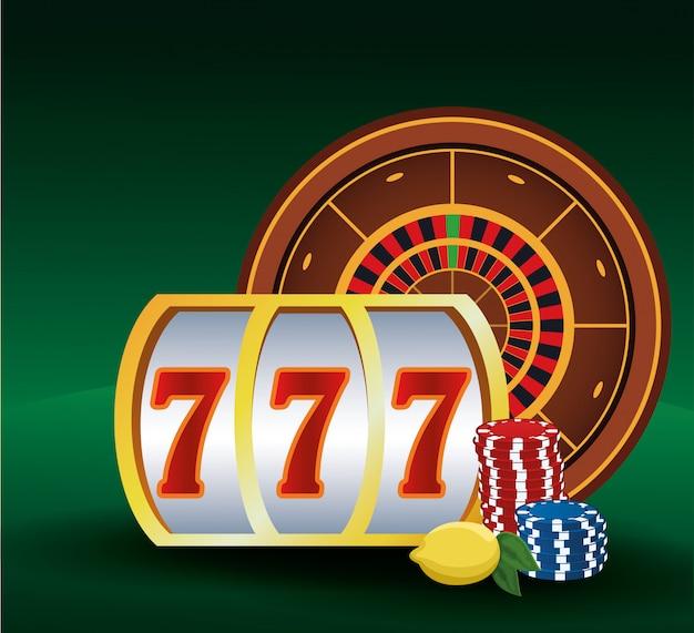 Fichas de caça-níqueis de roleta e casino de jogo de apostas de limão