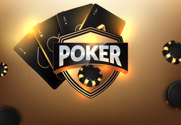 Fichas de casino, cartões e lugar para texto