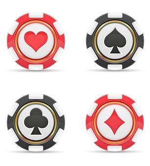 Fichas de casino com cartas ternos ilustração vetorial