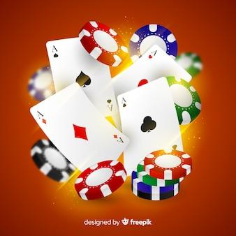 Fichas de casino realistas e cartas caindo fundo