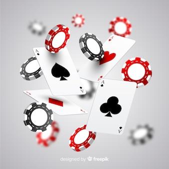 Fichas de casino realistas e cartas caindo
