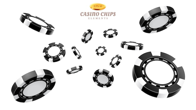 Fichas de cassino 3d pretas ou tokens realistas voando para jogos de azar