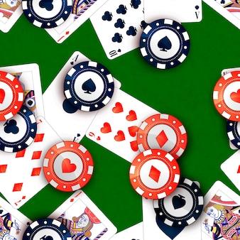 Fichas de cassino e cartas de pôquer na mesa verde, sem costura padrão