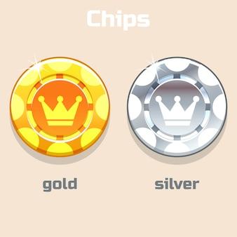 Fichas de ouro e prata de pôquer de vetor