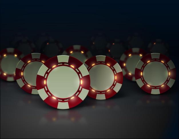 Fichas de pôquer de cassino com elementos de luzes luminosas.