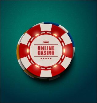Fichas de pôquer de cassino de vetor com elementos de luz luminosa, vista superior. plano de fundo texturizado verde azul. casino online, cartaz de blackjack, ilustração de eps 10.