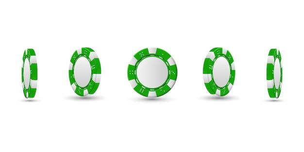 Fichas de pôquer em posição diferente. fichas verdes isoladas. ilustração vetorial