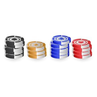 Fichas de pôquer isoladas no fundo branco para o conceito de casino. ilustração