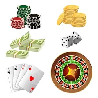 Fichas de pôquer, moedas de ouro com cifrão