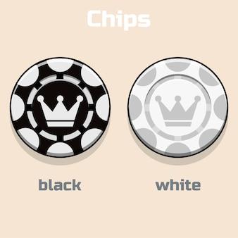 Fichas de pôquer preto e branco do vetor