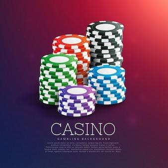 Fichas do casino de jogo na pilha