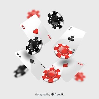 Fichas e cartões de casino caindo realista