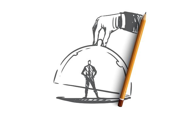 Fidelização de clientes, negócios, marketing, conceito de serviço. cliente desenhado de mão sob o esboço do conceito de tampa de vidro.