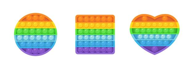 Fidget pop it toy silicone sensorial para crianças. bolhas antistress da moda se espremendo nas cores do arco-íris