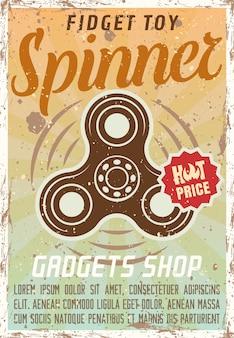 Fidget spinner anunciando pôster colorido vintage para ilustração da loja de gadgets