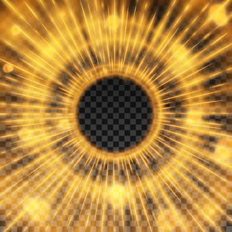 Fiery starburst quadro com efeito de luz sobre fundo transparente vector a ilustração