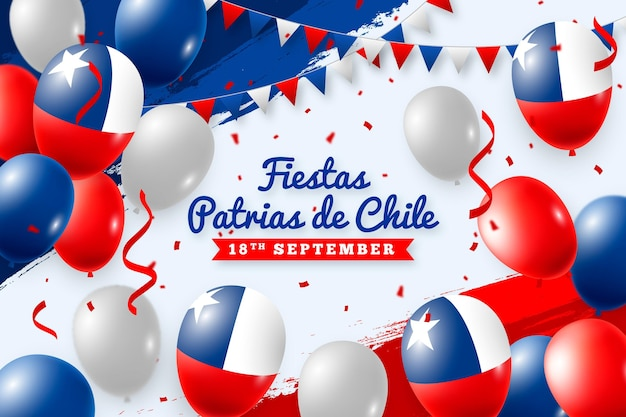 Fiestas patrias de chile com balões e bandeiras