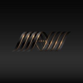 Figura abstrata ondulada na cor ouro preto ilustração vetorial