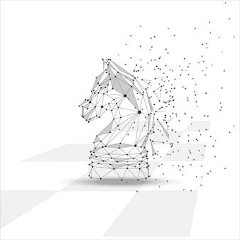 Figura de cavalo de xadrez baixo poli