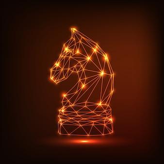 Figura de cavalo de xadrez de lâmpadas brilhantes