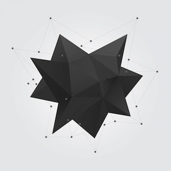 Figura de forma geométrica poligonal preta