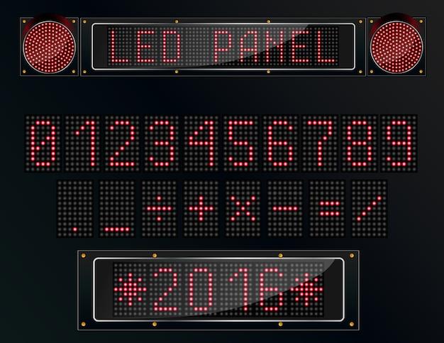 Figura de painel digital led em fundo preto