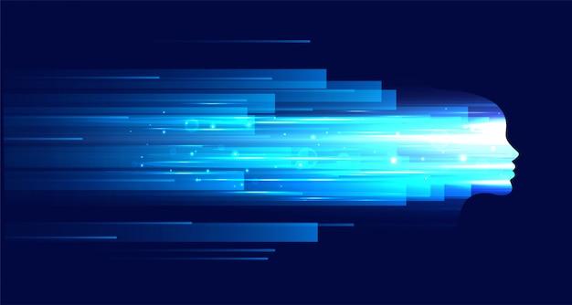 Figura de rosto de tecnologia com listras de luz azuis