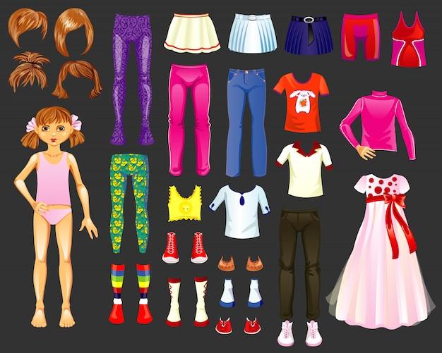 Figura de uma menina e um conjunto de roupas