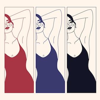 Figura e rosto de mulher de contorno na moda. cartaz / tatuagem / impressão elegante abstrato com forma feminina em um estilo linear. vestido moderno, conceito de roupa interior. retrato mínimo de mulher. arte de linha de impressão de moda.