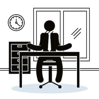 Figura empresário na silhueta de avatar do escritório