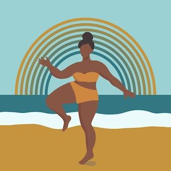 Figura feminina curvilínea abstrata na praia com arco-íris ao fundo