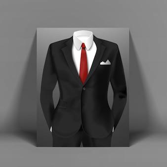 Figura humana elegante em pôster colorido, vestida com um terno e gravata vermelha
