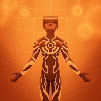 Figura masculina futurista no fone de ouvido de realidade virtual