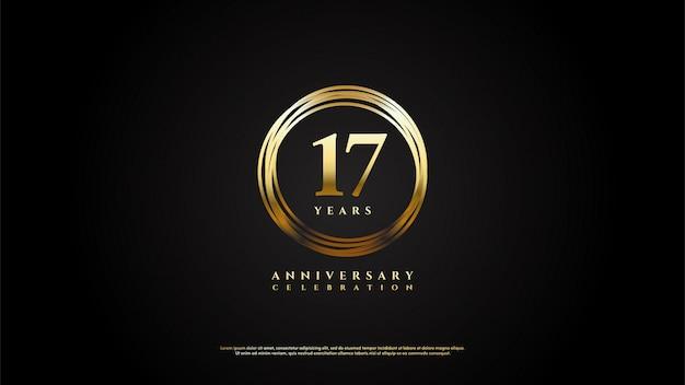 Figuras 17 para celebrações com números circulados em linhas douradas.