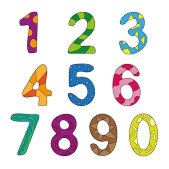 Figuras de crianças de desenho vetorial. conjunto de números de cores. contando, aprenda os números