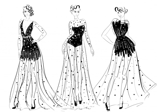 Figuras de mulher em vestidos longos de alta costura transparente