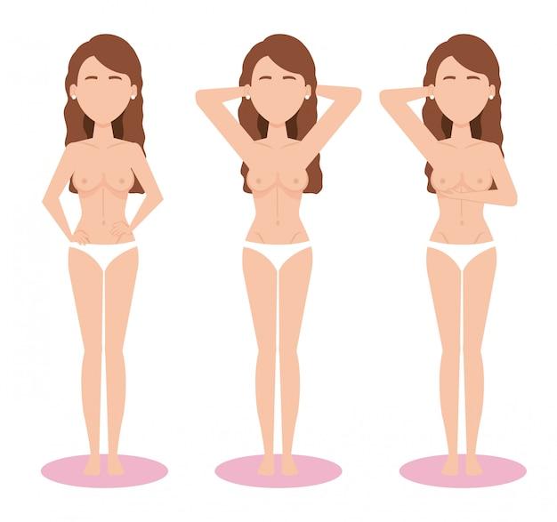 Figuras de mulheres com teste de câncer de mama